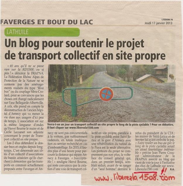Article Essor Savoyard jeudi 17 janvier 2013